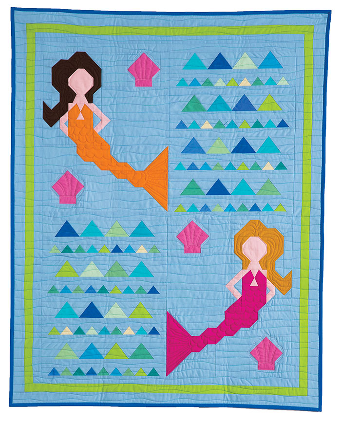 Shell We Dance? by Diane Harris is a modern crib quilt for the little mermaid in your life, or for a mermaid lover of any age! Simple stitch-and-flip with one small foundation pieced section. Easy Peasy!